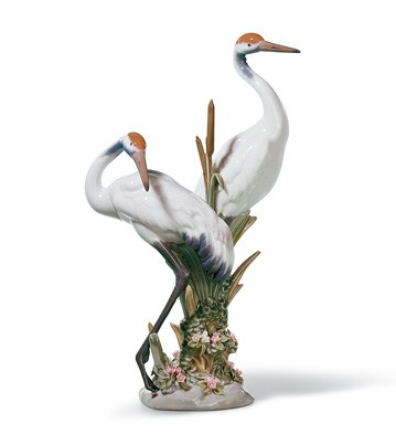 Lladro figurine of porcelain: Courting cranes