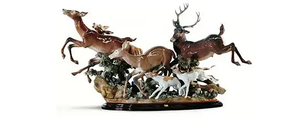 The problem of hunting deers? porcelain figurine Lladro, deers