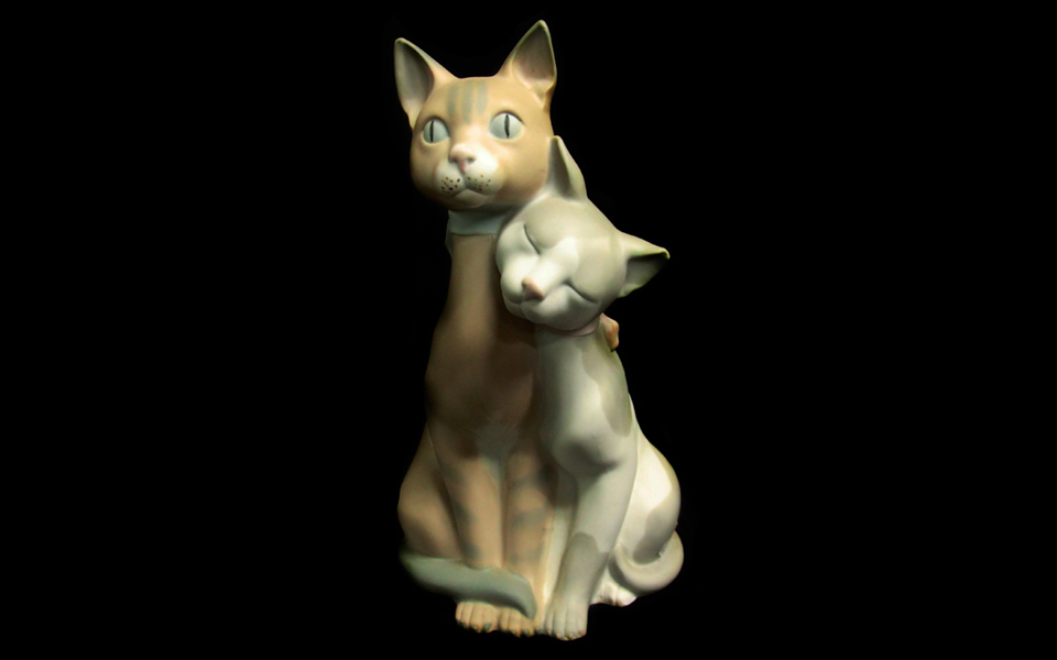 Lladro figurine of porcelain: Couple of cats